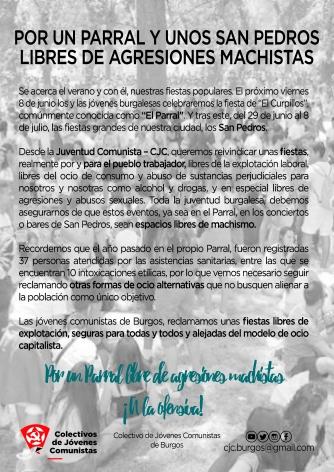 Comunicado- Campaña antiagresiones Parral y San Pedros